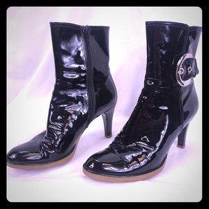 Stuart Weitzman Black Patent Leather Heel Boot 6